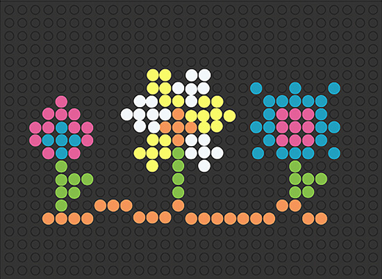 flowers template for lite brite retro